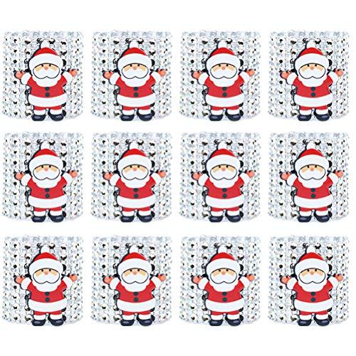 TOYMYTOY 12 Stücke Serviettenringe Weihnachts Dekorative Weihnachtsmann Serviette Schnalle Halter,Silber