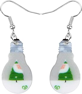 NEWEI Acrylic Christmas Tree Light Bulb Earrings Dangle Pattern Unique Design Fashion Jewelry For Women Charm Decoration
