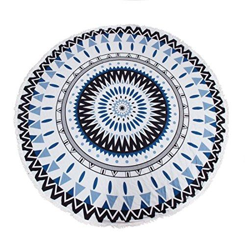 Internet Hippie ronde tapisserie ronde Mandala plage serviette Yoga Mat Bohème Serviette de plage (Noir-Bleu)