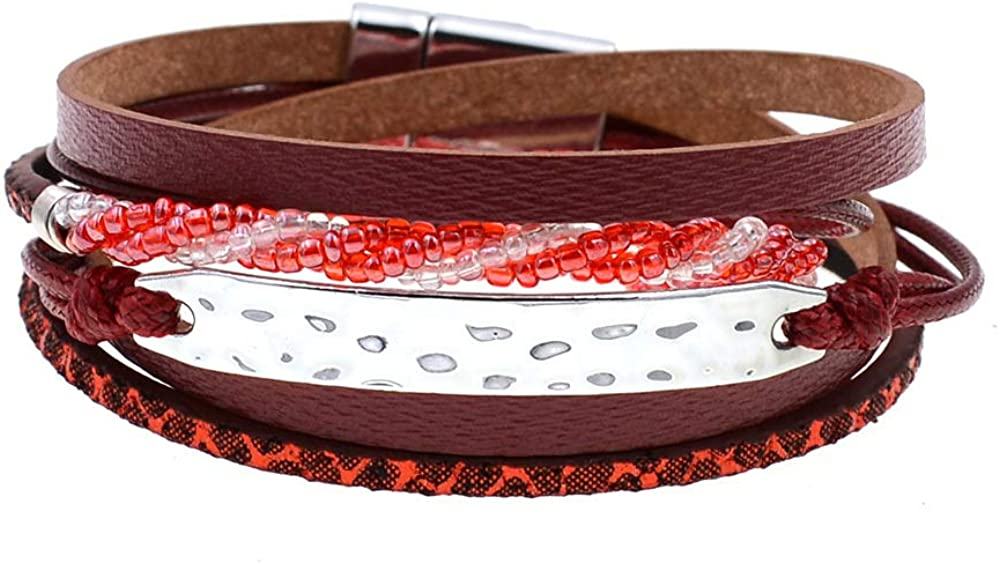 Women Daily bargain sale Bracelet 2 Layer Bracelets Bohemia Leather Beads Long Beach Mall