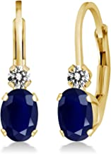 Gem Stone King 1.17 Ct Oval Blue Sapphire White Diamond 14K Yellow Gold 3/4 Inch Earrings