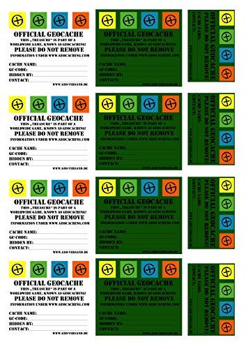 geo-versand DIN A4 12 x Geocaching Sticker with Stashnote for Preform filmcanister English Stashnote Finderhinweis Sticker