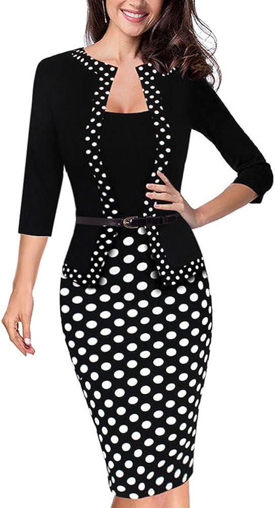 HOMEYEE Women's 3/4 Sleeve Dot Wear to Work Pencil Dress B407