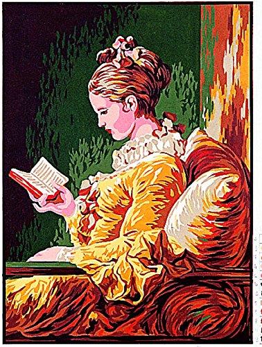 Margot de Paris Tapestry/Kit para bordar - Young Diseño de chica con lectura/Jeune fille lisant