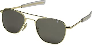 AO Eyewear American Optical - Original Pilot Aviator Sunglasses with Bayonet Temple and Gold Frame, True Color Grey Glass Lens