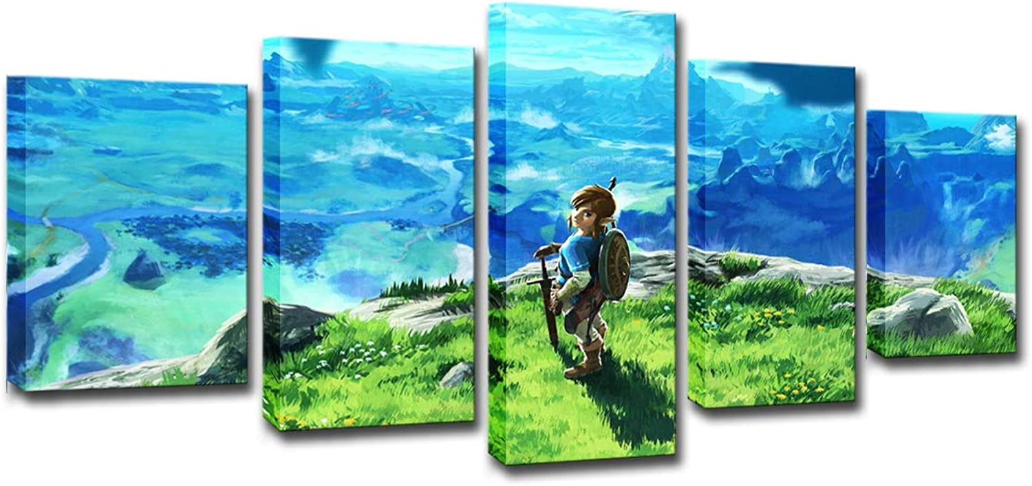 HD Printed Canvas, Poster Frame Home Decor Living Room Wall Art 5 Piece Legend of Zelda Painting Decor Anime Game Pictures,Frameless,L