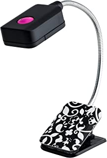 WITHit French Bull Clip On Book Light – Black/White – Square LED Reading Light for Books and eBooks, Reduced Glare, Portable and Lightweight, Cute Bookmark Light for Kids & Adults, Batteries Included