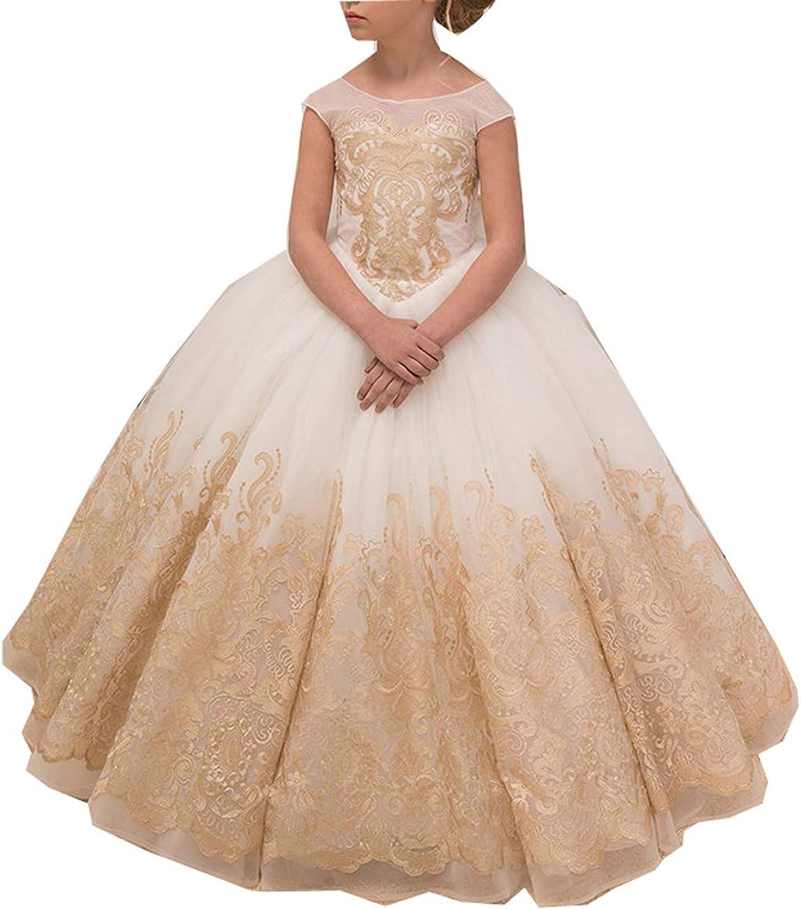 Adela Richer Girls' Lace High Denver Mall Go Dresses Neck Popular Pageant Ball