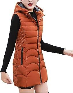 Cotton Long Vest Hooded Respctful Women Lightweight Puffer Vest Zipper Up Thickened Warm Vest Jacket