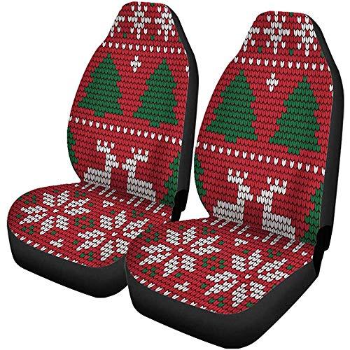 Auto Stoelhoezen Rode Trui Gebreide Kerstmis En Nieuwjaar Patroon Lelijke Auto Accessoires Beschermers Universeel