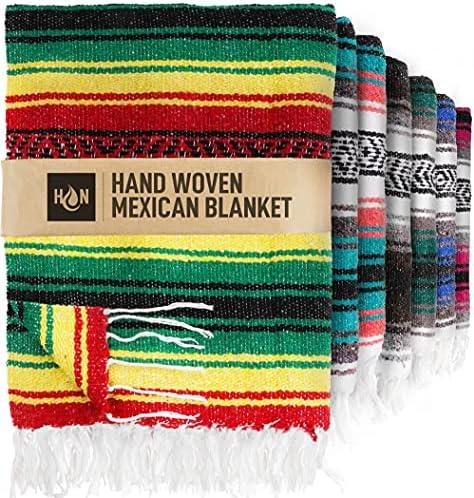 Handcrafted Mexican Blankets, Artisanal Handwoven Serape Blanket, Authentic Falsa Blanket, Great As Beach Blanket, Camping Blanket, Picnic Blanket, Outdoor Blanket, Boho Throw Blankets, Aqua Green