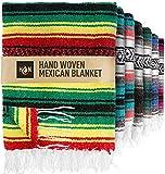 Handcrafted Large Mexican Blankets, Artisanal Handwoven Serape Blanket, Authentic Falsa Blanket, Beach Blanket, Camping Blanket, Picnic Blanket, Outdoor Blanket, Boho Throw Blankets, Rasta
