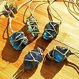bgfh Piedra de Cristal de Cuarzo Natural Azul/Verde Tratamiento de fluorita Piedra Adorno de fluorita Colgante de fluorita con Cuerda Tejida a Mano