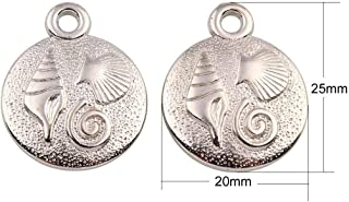 4pcs Antique Silver Tone Marine Seashell Fish Flat Round Metal Coated Plastic Pendant Charms Beads Bohemian Czech Findings 25mm x 20mm