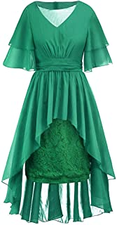 COZOCO Vestido Retro con Dobladillo Irregular y puntillas de Encaje de Color sólido para Damas