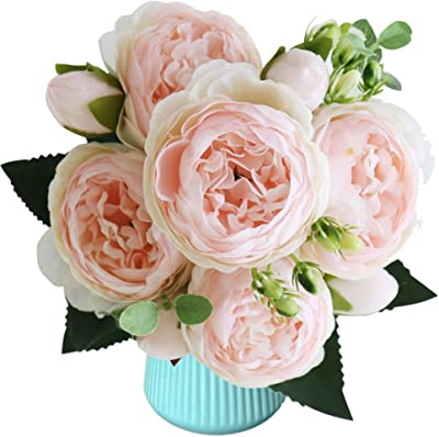 Small Artificial Flower Fake Peonies Silk Bouquet Wedding Party Home Decor SH