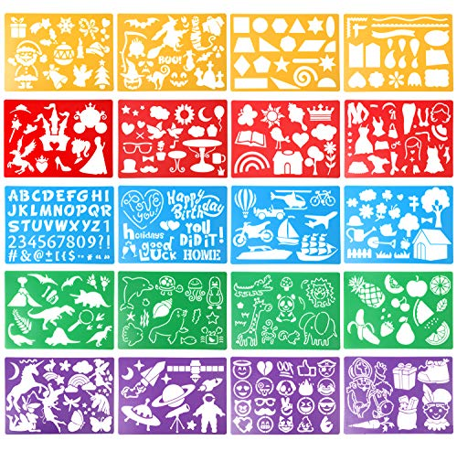 VEYLIN 20 Pieces Drawing Stencil Set for Kids Over 250 Different Patterns Washable Plastic Journal Stencil for Children Scrapbook DIY Craft (Assorted Colors)