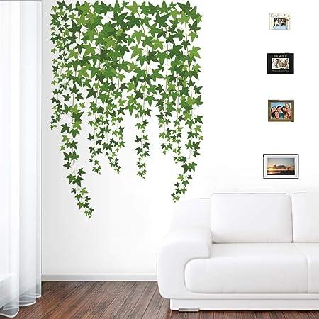 Runtoo Pegatinas de Pared Plantas Stickers Adhesivos Vinilo Verde Hojas Decorativas Salon Dormitorio Habitacion Bebe