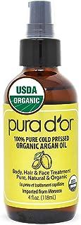 PURA D'OR Moroccan Argan Oil (4oz) for Hair, Face, Skin, Scalp & Nails - USDA Organic 100% Pure Cold Pressed Virgin Premiu...
