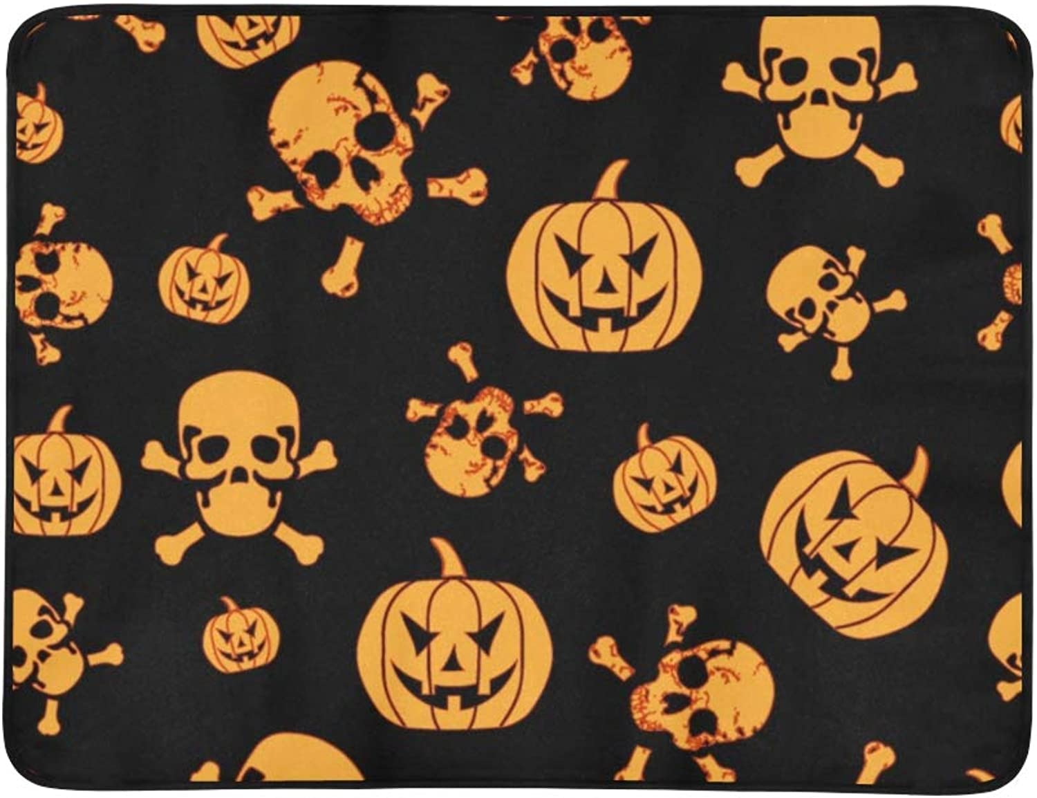 Conceptual Halloween Horror Pumpkin Portable and Foldable Blanket Mat 60x78 Inch Handy Mat for Camping Picnic Beach Indoor Outdoor Travel