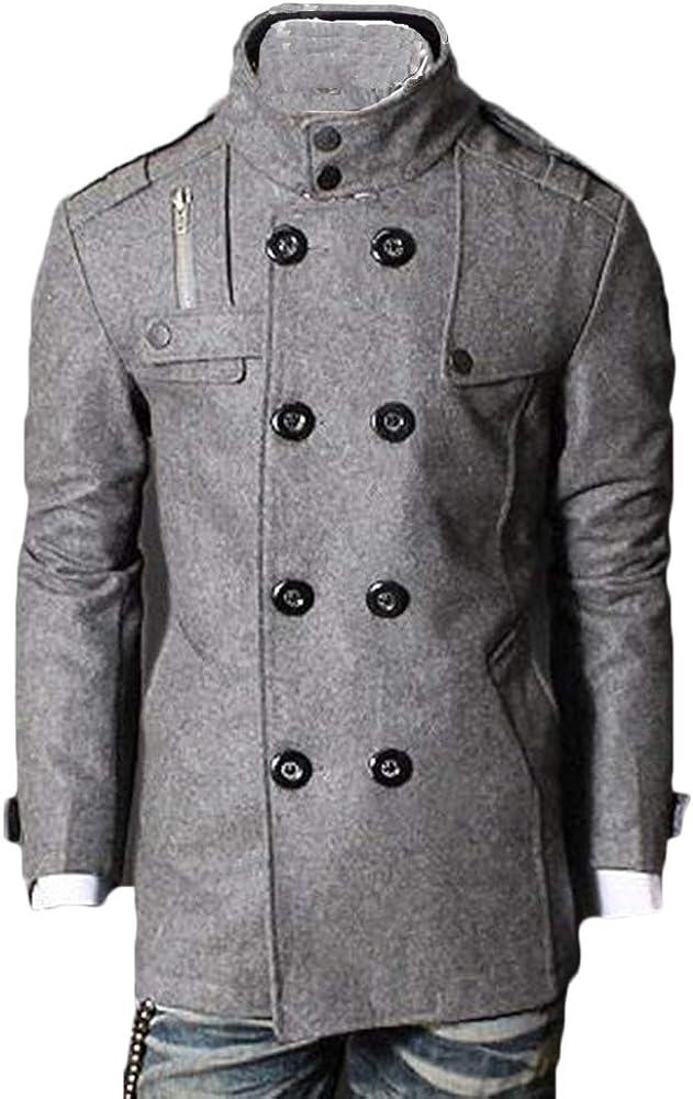 Hombres Caliente Doble Fila De Botones De Capa Suéter Top Blusa Trenca Abrigo Chaqueta Casual