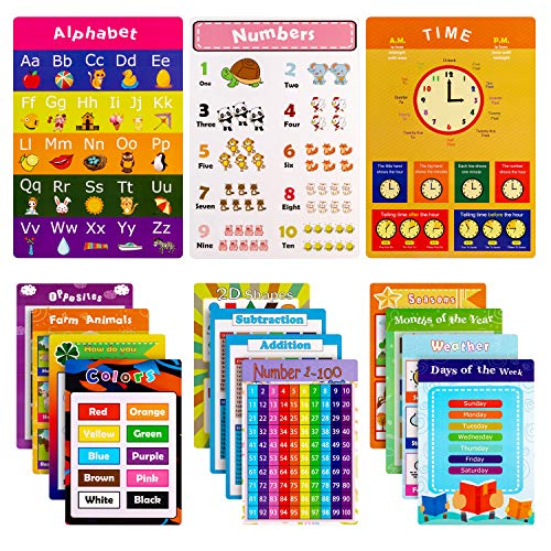 Educational Posters for Kids Preschool Learning with Glue Point Dot for Nursery Homeschool Kindergarten Classroom - Numbers Alphabet Days Time Colors and More, 16 x 11 Inch, Set of 15