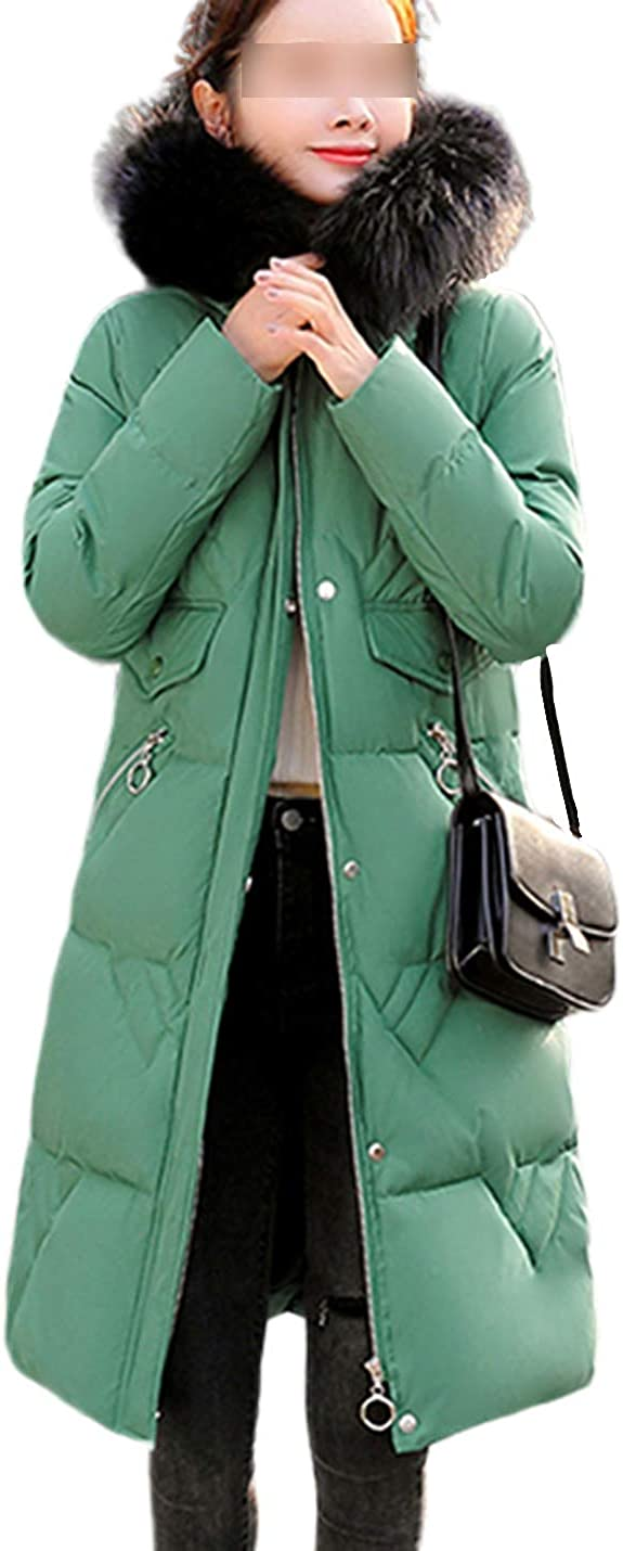 Uaneo Womens Mid Long Thicken Quilted Fur Collar Puffy Hoody Parkas Coat Outerwear(Green-L)