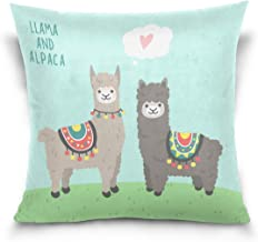 "MASSIKOA Love Llama Alpaca Decorative Throw Pillow Case Square Cushion Cover 16"" x 16"" for Couch, Bed, Sofa or Patio - Onl..."
