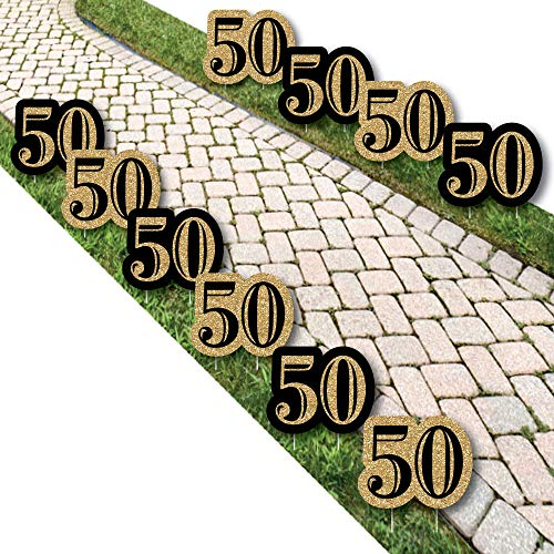 Big Dot of Happiness Adult 50th Birthday - Gold Lawn Decorations - Outdoor Birthday Party Yard Decorations - 10 Piece