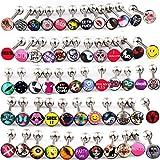 FanPei 30PCS Tongue Ring Logo Barbell 14 Gauge Body Piercing Jewelry Lot (Mix Logos 30pcs)