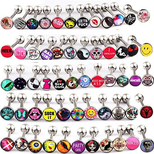 FanPei 50PCS Tongue Ring Logo Barbell 14 Gauge Body Piercing Jewelry Lot (Mix Logo 50pcs)