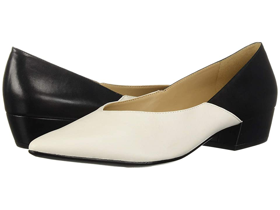 Vintage Style Shoes, Vintage Inspired Shoes Naturalizer Betty Alabaster Black LeatherSmooth Womens Slip on  Shoes $99.00 AT vintagedancer.com