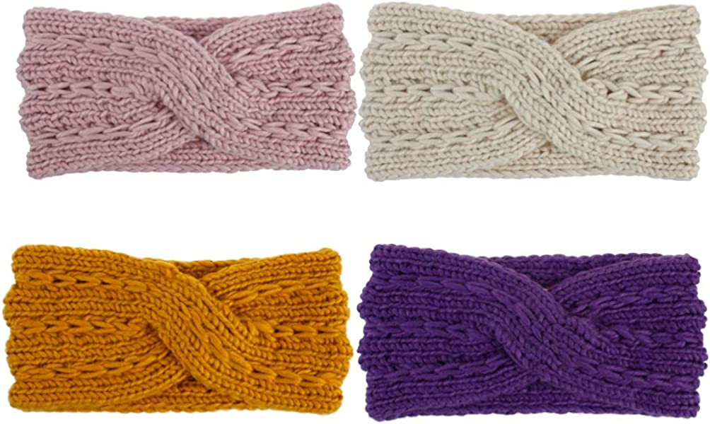 LEORX 4pcs Knitted Headband Classic Cross Head Wrap Winter Ear Warmer Stretch Headband for Women (Beige Yellow Pink Purple)