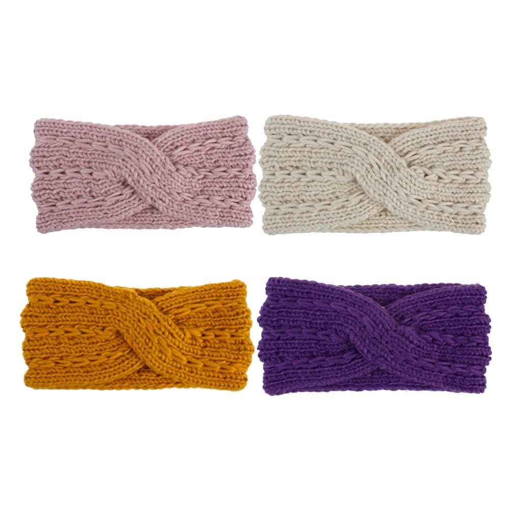 Lurrose 4Pcs Womens Winter Woolen Yarn Headband Soft Crochet Knitted Cross Turban Elastic Head Wrap Headdress for Women Girls Style 2