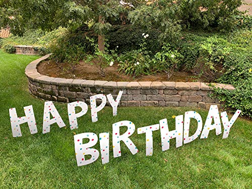 Note Card Cafe Happy Birthday Yard Sign Lawn Letters Set with Stakes | Pastel Confetti Design for Girl, Boy, Colorful Party Outdoor Decorations | Large Single Sided Signs