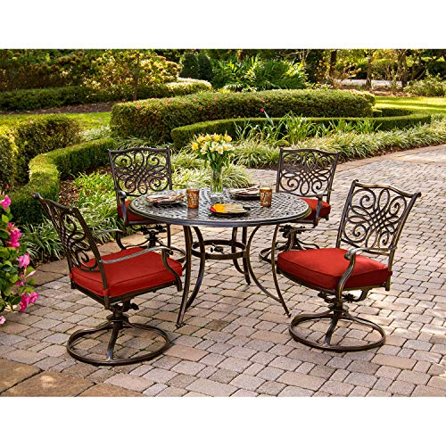 """Hanover Traditions 5-Piece Cast Aluminum Outdoor Patio Dining Set, 4 Swivel Rocker Chairs and 48"""" Round Table, Brushed Bronze Finish with Red Cushions, Rust-Resistant, TRADDN5PCSW-RED"""
