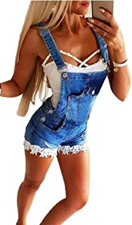 FSSE Women's Denim Jean Shorts Summer Lace Stitch Denim Bib Overalls Short