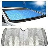 DaoRier Auto sol protección parabrisas Parabrisas Coche Doble Cara aluminio pantalla parasol plegable fácil almacenar 140 x 70 cm