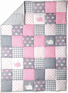 Baby Cotton Blanket - Crib Cute Fish Pattern Cradle Comforter for Newborn Babies Warm and Soft Toddler Quilt - Baby Pink - 38 X 50 in