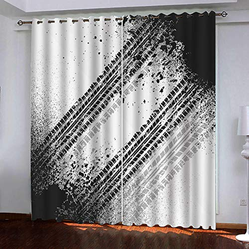 Blackout Curtains Windows Black Tire Tracks 44 x 85 Inch Bedroom Curtains Set of 2 Pieces Panels Thermal Curtain Drapes Energy Saving Noise Reduction Curtains Eyelet Insulated