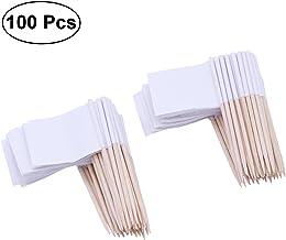 ULTNICE Racing Flag Picks Mini Flag Toothpicks Appetizer Fruit Sticks for Cocktail Party Pack of 100 - White