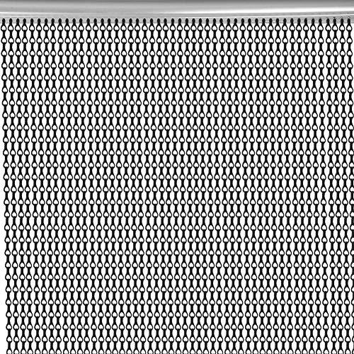 Hanper Aluminium Türvorhang, 0.9 x 2.1m Innenkettentür Vorhang Tür Bildschirm Anti-Fly Anti-Bugs für Tür Fenster Innen Dekoration Küche Office Store