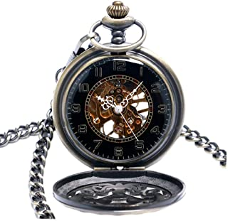 YXZQ Pocket Watch, Vintage Hollow Bronze Knot Mechanical Hand Wind Steampunk Mens Womens Pendant with Fob Chain Gifts