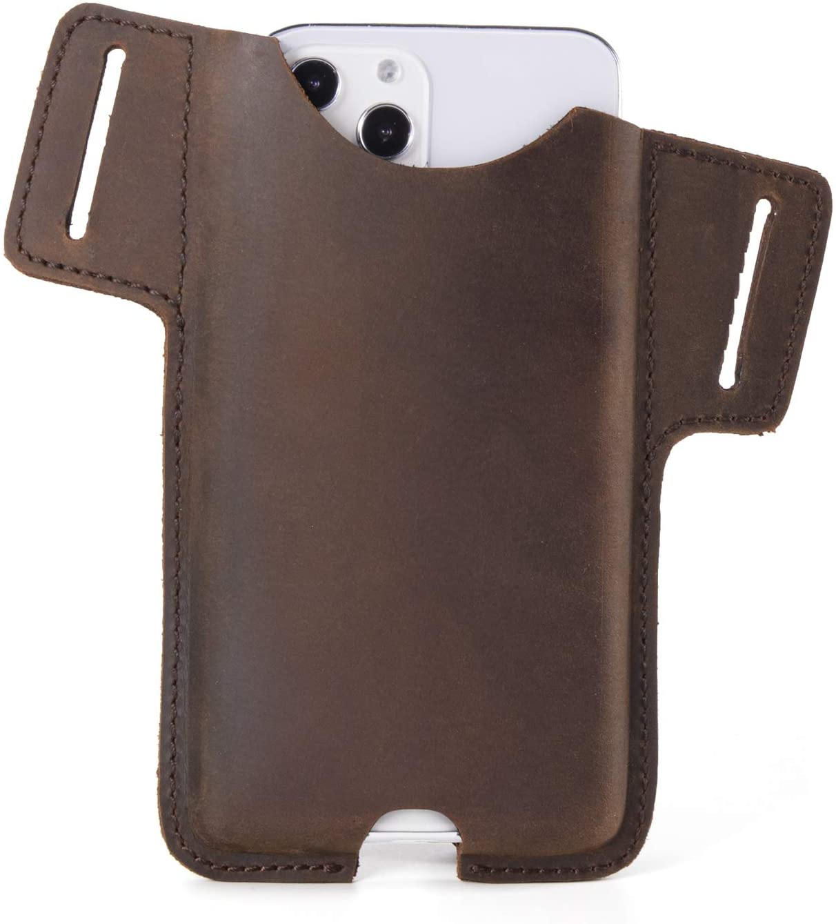 Gentlestache Leather Cell Phone Holster for Belt,Phone Case Leather, Belt Cell Phone Holder, Leather Phone Pouch, Leather Phone Sheath ,iPhone 12, 12 Pro Max,11 Pro Max, XS Max, 8 Plus, Galaxy S20
