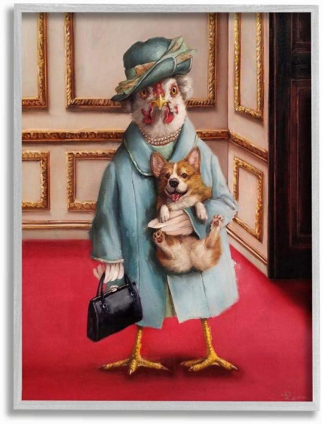 Stupell 正規逆輸入品 Industries Queen Chicken 贈答 with Corgi Regal Humor Animal