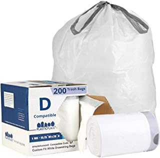 Plasticplace Custom Fit Trash Bags │ Simplehuman Code D Compatible (200 Count) │ White Drawstring Garbage Liners 5.2 Gallon / 20 Liter │ 15.75