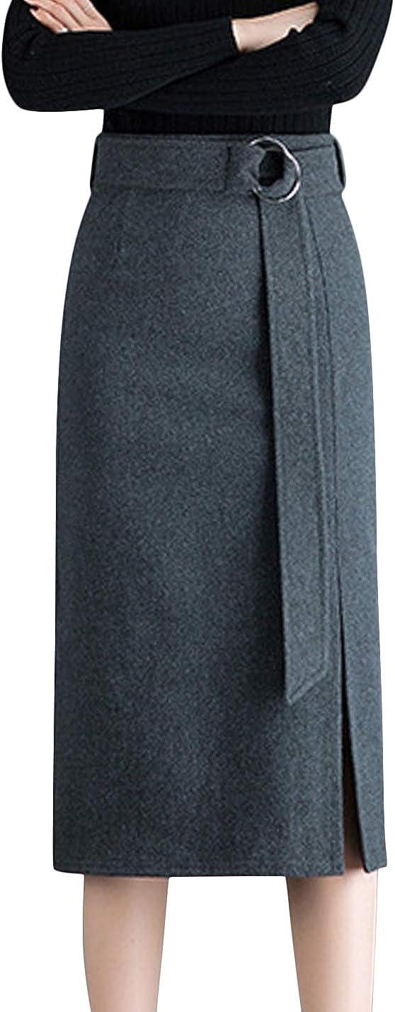 Springrain Women's High Waist Stretch Wool Blend Midi Pencil Skirt with Belt