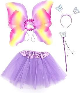 Amosfun Girl Fairy Princess Kids Performance Stage Costume Set Glitter Double Layer Butterfly Wing Wand Headband Dress