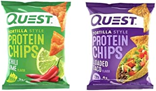 Quest Nutrition Protein Tortilla Chips Pack. Tortilla Style Protein Chips featuring Loaded Taco and Chili Lime in a Variety Pack, 30 Count
