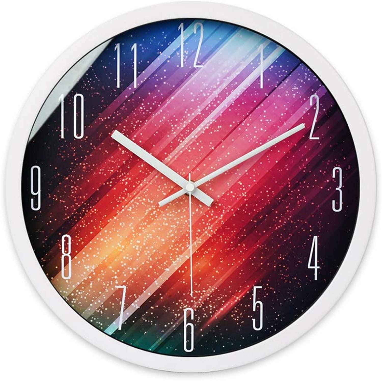 CSQ Metal Silent Wall Clock, (25.535.5CM) Hotel Bar Living Room Restaurant Wall Clock Wall Clock and Hanging Clock (color   White, Size   25.5  25.5CM)